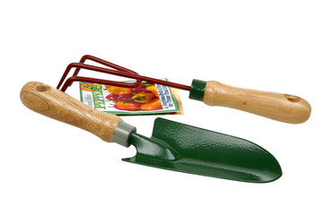 garden tools and seed packs