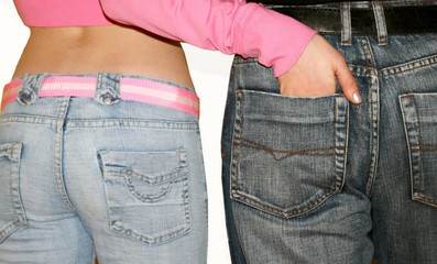 girl and man in jeans