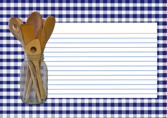 navy gingham recipe card