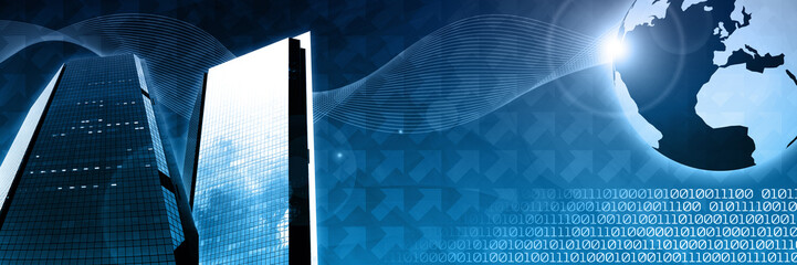 global business technology header template concept