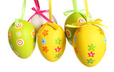 Fototapety easter eggs painted, isolated in white.