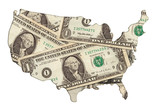 usa map outline with money photo illustration