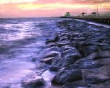 beautiful beach at twilight poster
