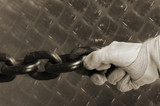 leather glove pulling heavy iron chain idea poster
