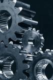 gear mechanism in metallic blue poster