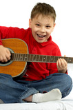 Fototapety the boy with an acoustic guitar on a white background
