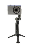 compact camera on tripod poster