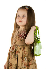 girl with green bag