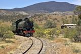 steam train coming around the corner poster