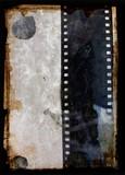 grunge background with film strip poster