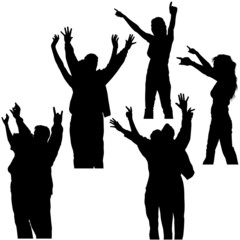 hands up silhouettes 3