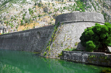 moat and city walls of kotor