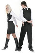 the businessman and business-lady in handcuffs.