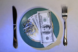 dollars as meal on a plate in blue