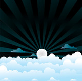 fluffy clouds night poster