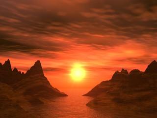 red dark  sunset in a bay