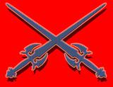 blue swords on red background poster