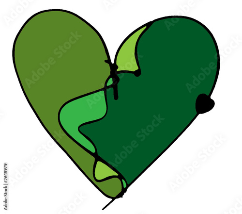 green colorful heart