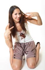 happy peace-loving teen