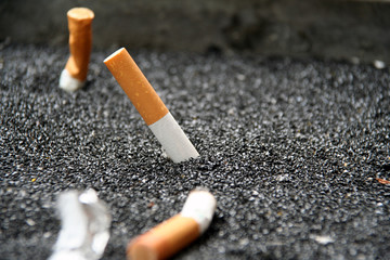 closeup of cigarettes in ashtray