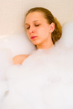 girl in bath foam poster