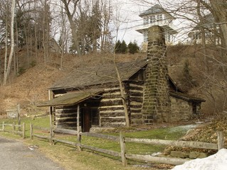 log cabin in park