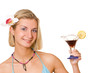 beautiful blond girl with a cocktail glass