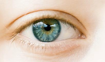 oeil de femme bleu vert sérénité en gros plan