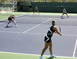 women playing doubles