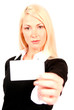 beautiful blonde business woman holding business card in front o