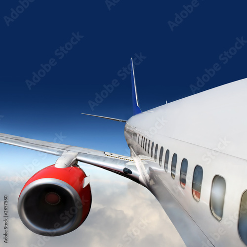 Fototapeta wings and engines of aircraft