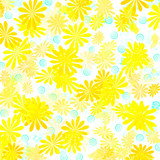 yellow floral gift wrap poster
