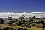 rocks at the atlantic ocean in portugal poster