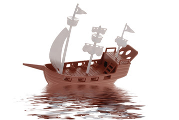 plastic toy pirate ship with reflection