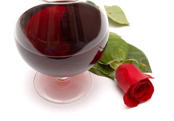 red wine and red rose
