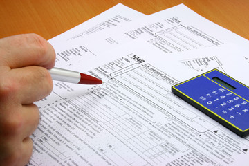 hand and tax forms
