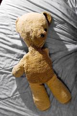 ourson peluche sur lit enfance maltraitée