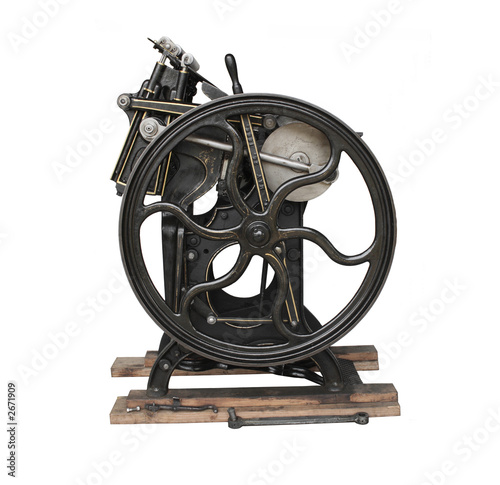 antique black printing press