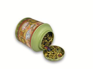 tea jar with herbal tea isolated