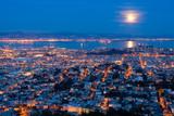 full moon rising over san francisco poster