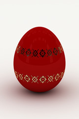 red glossy egg to easter on white