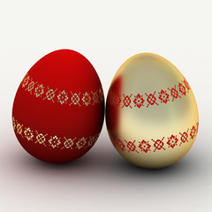red glass and gold eggs to easter sunday