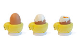 boiled eggs in 3 stages poster