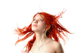 young girl in the wind looking forward - isolated poster