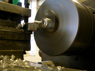 turning lathe with metal chips