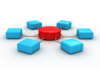 3d network concept (it is presented red and blue c