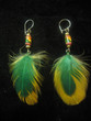 ear-rings with beads and feathers