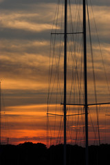 sailboat masts against sunset