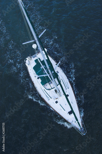 aerial view of sailboat at sea