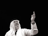 black and white portrait - the sheik gestures toward the heavens poster
